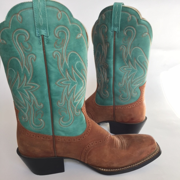 1d2ab0f6e6a Ariat Cowboy Boot Scallop Square Toe Teal Brown 10